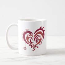 red, girl, illustration, pop, funny, cute, cool, vintage, heart, love, street, tribal, luv, sweet, sweetheart, romance, pop art, Caneca com design gráfico personalizado