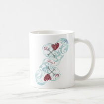 red, girl, illustration, pop, funny, cute, cool, vintage, heart, love, street, tribal, luv, graffiti, graphic, art, design, surfer, surfing, sweet, sweetheart, romance, digital art, Caneca com design gráfico personalizado