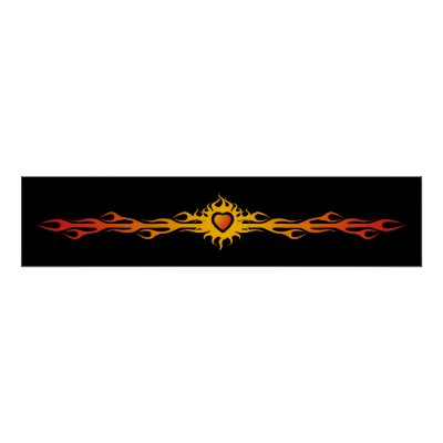 Tribal Heart Flames Poster