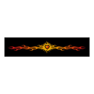 Tribal Heart & Flames Poster