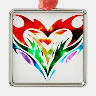 Tribal Heart Metal Ornament