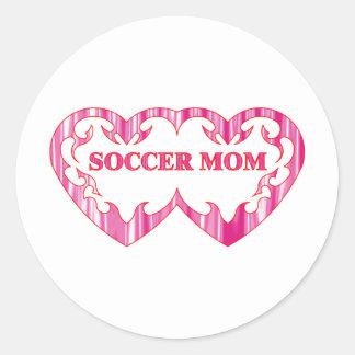 Tribal heart pair soccer mom classic round sticker