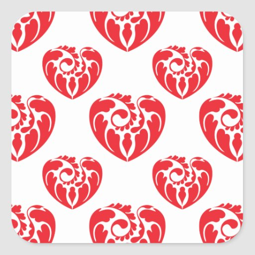Tribal Heart Pattern 2 Red Square Sticker