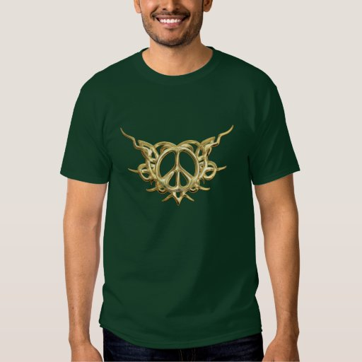 Tribal Heart Peace Gold T-Shirt