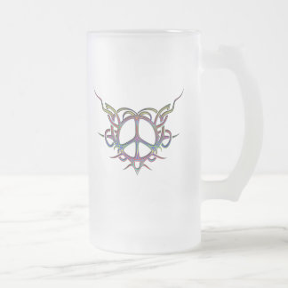 TRIBAL HEART PEACE SIGN FROSTED GLASS BEER MUG