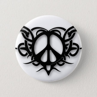 Tribal Heart Peace Sign Pinback Button