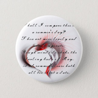 Tribal Heart with Shakespeare's sonnet 18 Button