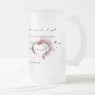 Tribal Heart with Shakespeare's sonnet 18 Frosted Glass Beer Mug