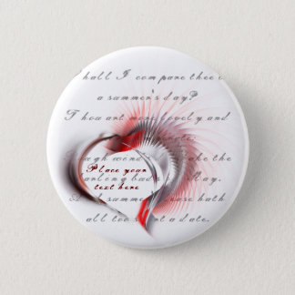 Tribal Heart with Shakespeare's sonnet 18 Pinback Button