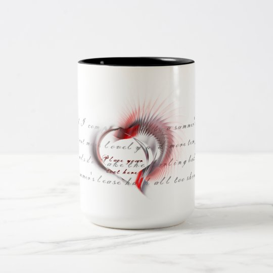 Tribal Heart with Shakespeare's sonnet 18 Two-Tone Coffee Mug