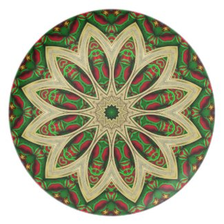 Tribal Holiday Geometric Flower Artistic Gift Plat plate