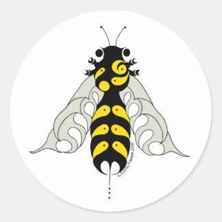 Tribal honey bee classic round sticker