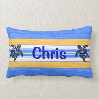 Tribal Honu Blue Stripes Lumbar Pillow