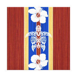 Tribal Honu Fake Wood Surfboard Canvas Print