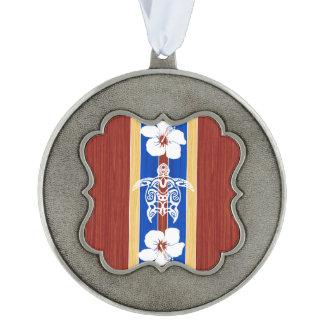Tribal Honu Fake Wood Surfboard Scalloped Pewter Ornament