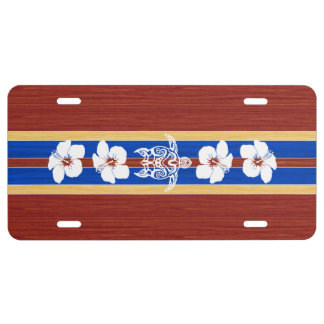 Tribal Honu Fake Wood Surfboard License Plate