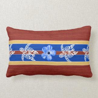 Tribal Honu Fake Wood Surfboard Lumbar Pillow