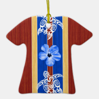 Tribal Honu Fake Wood Surfboard Christmas Tree Ornaments