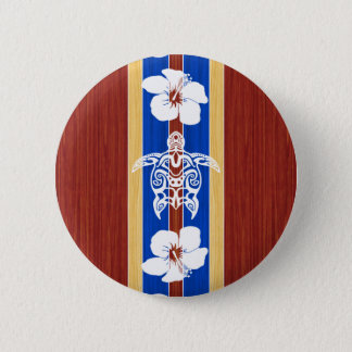 Tribal Honu Fake Wood Surfboard Pinback Button