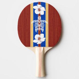 Tribal Honu Fake Wood Surfboard Ping-Pong Paddle