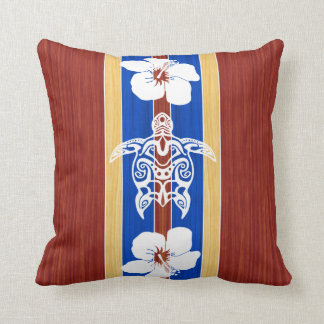 Tribal Honu Fake Wood Surfboard Throw Pillow
