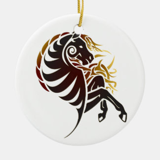 Tribal Horse Double-Sided Ceramic Round Christmas Ornament
