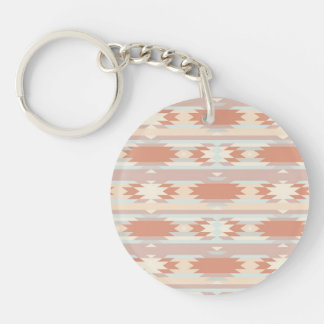 Tribal Ikat Aztec Andes patern Double-Sided Round Acrylic Keychain