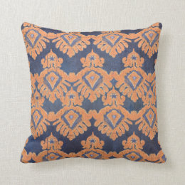 Tribal IKAT Pattern Orange Navy Bohemian Vintage Throw Pillow