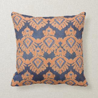 Tribal IKAT Pattern Orange Navy Bohemian Vintage Throw Pillow