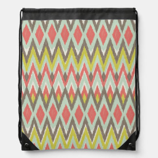Tribal Ikat Drawstring Backpack