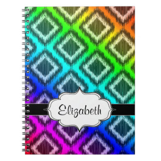 Tribal Ikat Rainbow Colorful Pattern Notebook
