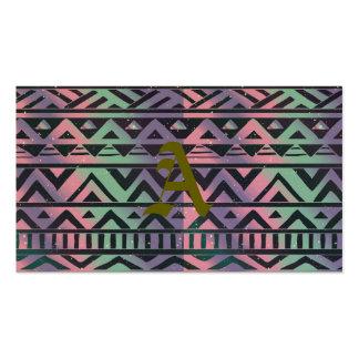 Tribal, ikat, trullo, púrpura, galón, negro, tarjetas de visita