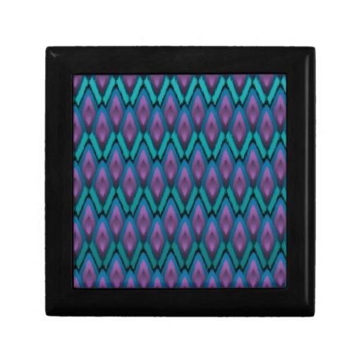 Tribal Ikat Zigzags and Diamonds Pattern Jewelry Box