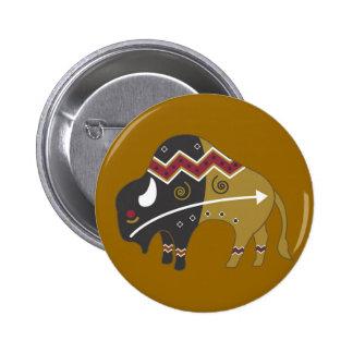 Tribal Indian Buffalo Pinback Buttons