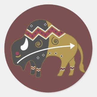Tribal Indian Buffalo Classic Round Sticker