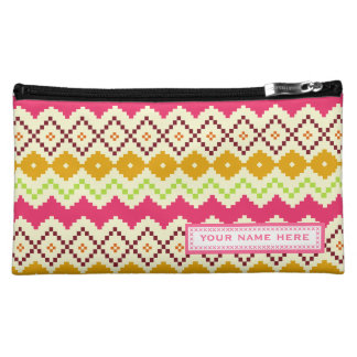 Tribal Inspired Zigzag Personalized Cosmetic Bag