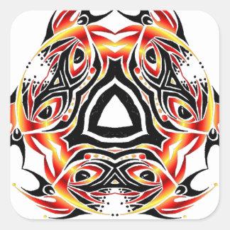 tribal jester square sticker