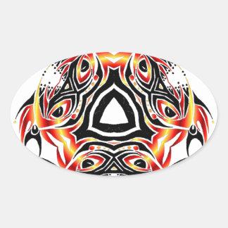 tribal jester oval sticker