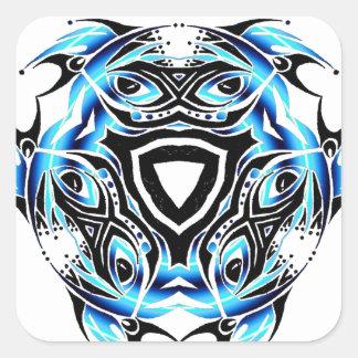 tribal jester warped square sticker