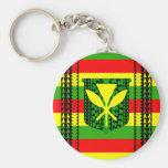 Tribal Kanaka Maoli Flag Basic Round Button Keychain