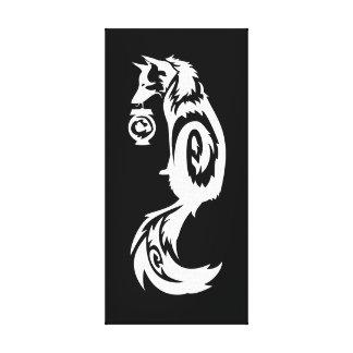 Tribal Kitsune Fox with Spirit Lantern Canvas Print