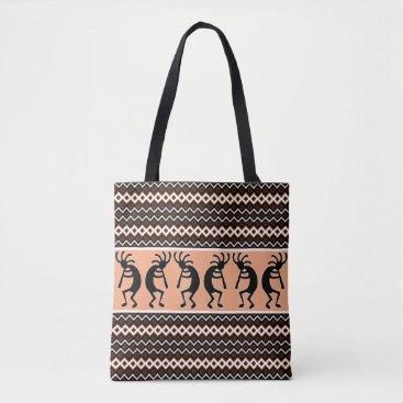 Aztec Themed Tribal Kokopelli Peach Brown  Black White Tote Bag