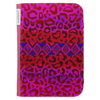 TRIBAL LEOPARD 3 Pink Native Animal Print Painting Kindle Folio Cases