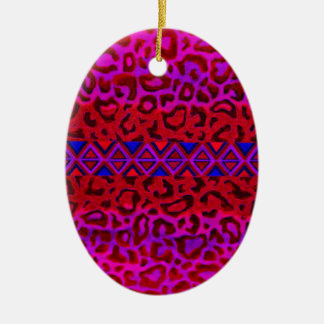 TRIBAL LEOPARD 3 Pink Native Animal Print Painting Ceramic Ornament