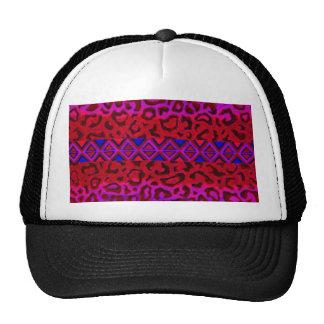 TRIBAL LEOPARD 3 Pink Native Animal Print Painting Trucker Hat