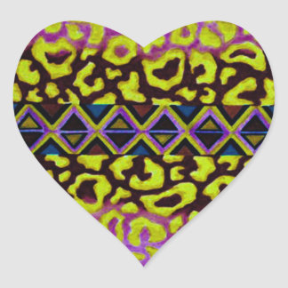 TRIBAL LEOPARD 4 Purple Native Animal Pattern Heart Sticker