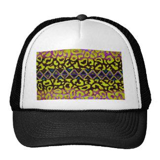 TRIBAL LEOPARD 4 Purple Native Animal Pattern Trucker Hat