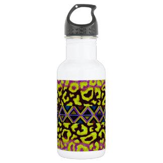 TRIBAL LEOPARD 4 Purple Native Animal Pattern Water Bottle