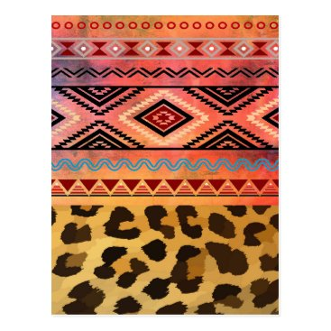Aztec Themed Tribal Leopard Postcard