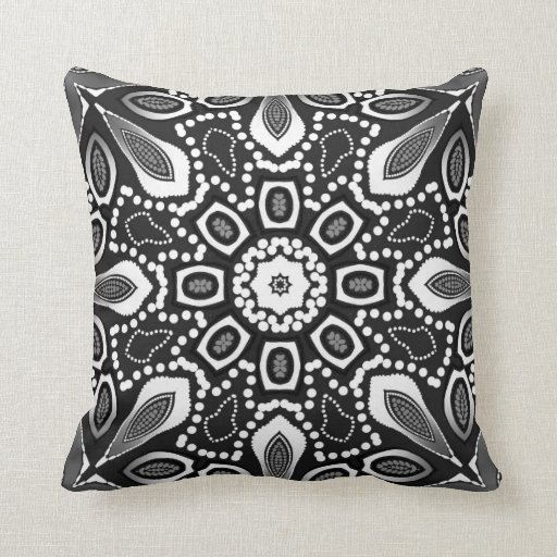 Tribal Lily Black White Geometric Mandala Cushion